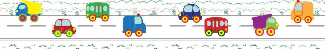 Frontera inconsútil del vector con los coches Fotografía de archivo
