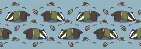 Frontera inconsútil del vector de la historieta linda del tejón Teja exhausta de la fauna del bosque de la mano libre illustration