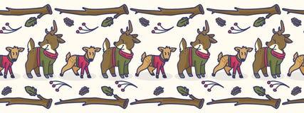 Frontera inconsútil linda del vector de la historieta de los ciervos y de la gama Teja exhausta de la fauna del bosque de la mano stock de ilustración