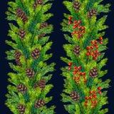Frontera inconsútil pintada a mano de Navidad del Watercolour Imagen de archivo libre de regalías