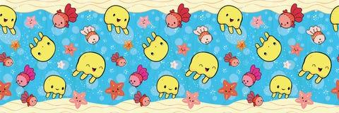 Frontera linda con las medusas amarillas y las estrellas de mar anaranjadas que juegan con las burbujas Modelo inconsútil del vec stock de ilustración