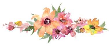 Frontera linda de la flor de la acuarela Fondo floral pintado a mano invitación Invitación de boda Tarjeta de cumpleaños ilustración del vector