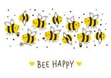 Frontera linda de las abejas de la miel para su diseño stock de ilustración