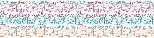 Frontera musical colorida de la enhorabuena del cumpleaños con el texto y las notas musicales Modelo inconsútil del vector en púr ilustración del vector