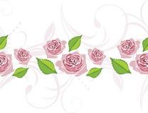 Frontera ornamental con las rosas rosadas estilizadas florecientes Imagenes de archivo