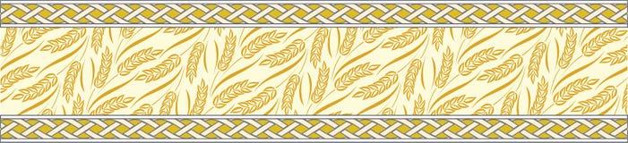 Frontera ornamental de la cinta del tema del trigo Imagenes de archivo