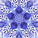 Frontera ornamental floral del vector abstracto Diseño del modelo del cordón Ornamento de la acuarela en fondo azul Frontera orna ilustración del vector