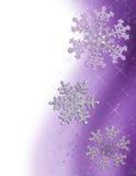 Frontera púrpura del copo de nieve stock de ilustración