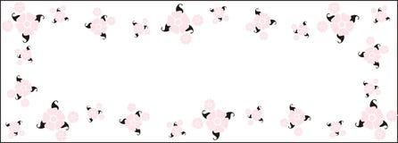 Frontera retra rosada de la flor del vector Foto de archivo