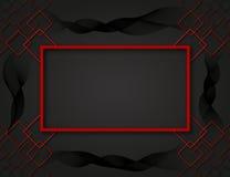 Frontera roja con squards Ondas del negro Fotografía de archivo libre de regalías