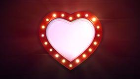 Frontera roja de la forma del corazón con las bombillas brillantes en fondo oscuro ilustración del vector