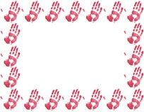 Frontera roja de la impresión de la mano Fotos de archivo libres de regalías