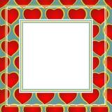 Frontera roja de los corazones Imagen de archivo