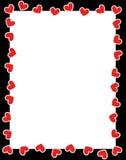 Frontera roja del día de tarjeta del día de San Valentín de los corazones Imagenes de archivo