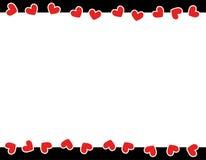 Frontera roja del día de tarjeta del día de San Valentín de los corazones Fotografía de archivo