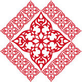 Frontera roja del marco del ornamento del modelo del papel pintado Fotografía de archivo