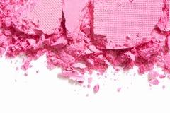 Frontera rosada de la sombra de ojos machacada en blanco Fotografía de archivo libre de regalías