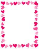 Frontera rosada de los corazones Fotografía de archivo libre de regalías