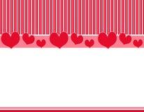 Frontera rosada roja 2 de las rayas de los corazones Fotos de archivo libres de regalías