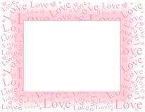 Frontera rosada suave del marco del amor y de los corazones Imagenes de archivo