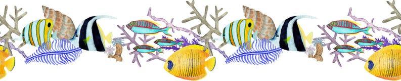 Frontera seemless exhausta de la mano en el elemento natural del mundo del mar de la acuarela Filón de corales en el fondo blanco stock de ilustración