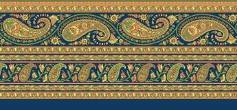 Frontera tradicional de Paisley del indio stock de ilustración