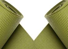 Frontera verde de las esteras del ejercicio de la yoga Foto de archivo