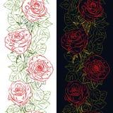 Frontera vertical del esquema inconsútil con los brotes y las hojas color de rosa libre illustration