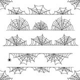 Frontera y divisores del marco del vector de la telaraña de Halloween con el web de araña Imagen de archivo libre de regalías