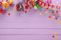 Frontera y fondo festivos coloridos del partido Fotografía de archivo
