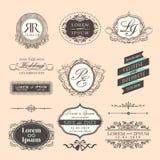 Frontera y marcos de la boda del estilo del vintage Fotografía de archivo libre de regalías