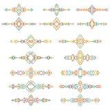 Fronteras étnicas coloridas fijadas en el fondo blanco Colección de elementos tribales del boho Línea arte del estilo Vector Foto de archivo