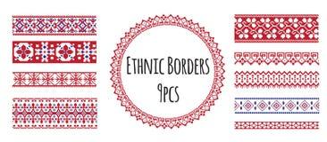 Fronteras étnicas para el cepillo del diseño y del modelo Ilustración del Vector