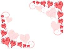 Fronteras de la esquina de los corazones rosados decorativos Imagen de archivo