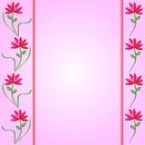 Fronteras de la flor en fondo rosado del gradiente Stock de ilustración