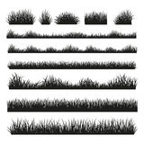 Fronteras de la silueta de la hierba fijadas en fondo ilustración del vector
