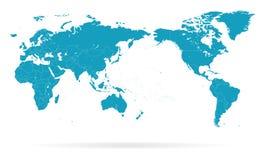 Fronteras de la silueta del contorno del esquema del mapa del mundo - Asia en el centro Imagen de archivo