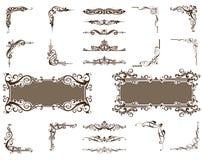 Fronteras de las esquinas de los ornamentos del vector fijadas Fotos de archivo libres de regalías