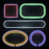 Fronteras de neón iluminadas, muestras vacías del marco, Año Nuevo, casino, sistema del vector de la decoración del partido Imagen de archivo libre de regalías