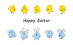 Fronteras de Pascua con los conejitos y los polluelos divertidos ilustración del vector