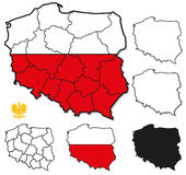 Fronteras de Polonia, fronteras de la provincia - capas CON./DESC. Foto de archivo