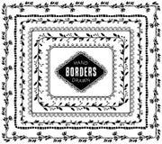 Fronteras decorativas de la naturaleza del vintage Elementos dibujados mano del vector Foto de archivo libre de regalías