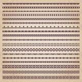 Fronteras decorativas en el estilo retro - sistema del vector Imágenes de archivo libres de regalías