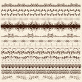 Colección de fronteras caligráficas para el diseño Imagen de archivo libre de regalías