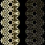 Fronteras del cordón del oro, líneas de papel ornamentales, vector nam del letrero stock de ilustración