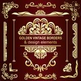 Fronteras del vintage y elementos de oro del diseño. Fotos de archivo
