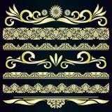 Fronteras del vintage y elementos de oro del diseño. Imagenes de archivo