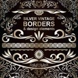 Fronteras del vintage y elementos de plata del diseño Foto de archivo