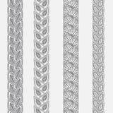 Fronteras dibujadas mano del garabato del tatuaje del mehndi de la alheña, elemento del diseño para las invitaciones de la decora libre illustration
