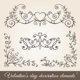 Fronteras, esquinas y divisores del día de tarjeta del día de San Valentín stock de ilustración